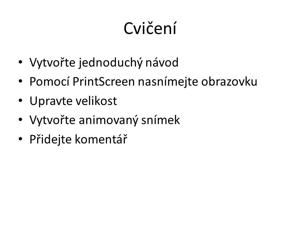 Cvičení Vytvořte jednoduchý návod Pomocí PrintScreen nasnímejte obrazovku Upravte velikost Vytvořte animovaný snímek Přidejte komentář
