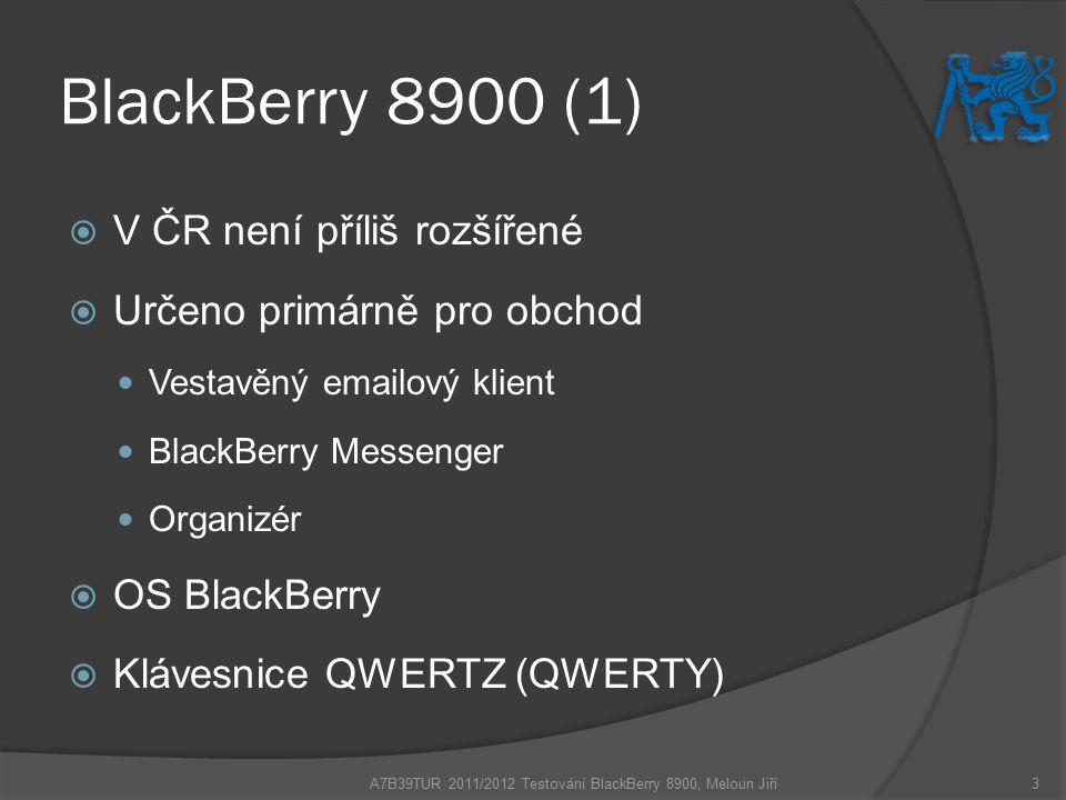 BlackBerry 8900 (2) A7B39TUR 2011/2012 Testování BlackBerry 8900, Meloun Jiří4 A – Přední strana B – Menu Key C – Trackball D – Escape Key