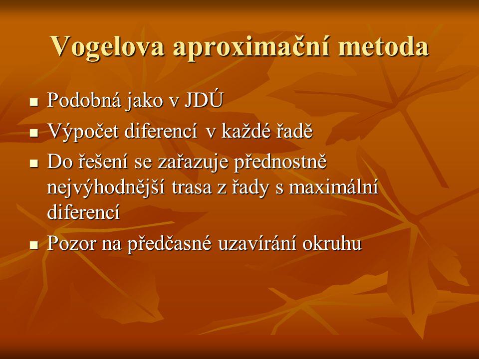 Vogelova aproximační metoda Podobná jako v JDÚ Podobná jako v JDÚ Výpočet diferencí v každé řadě Výpočet diferencí v každé řadě Do řešení se zařazuje