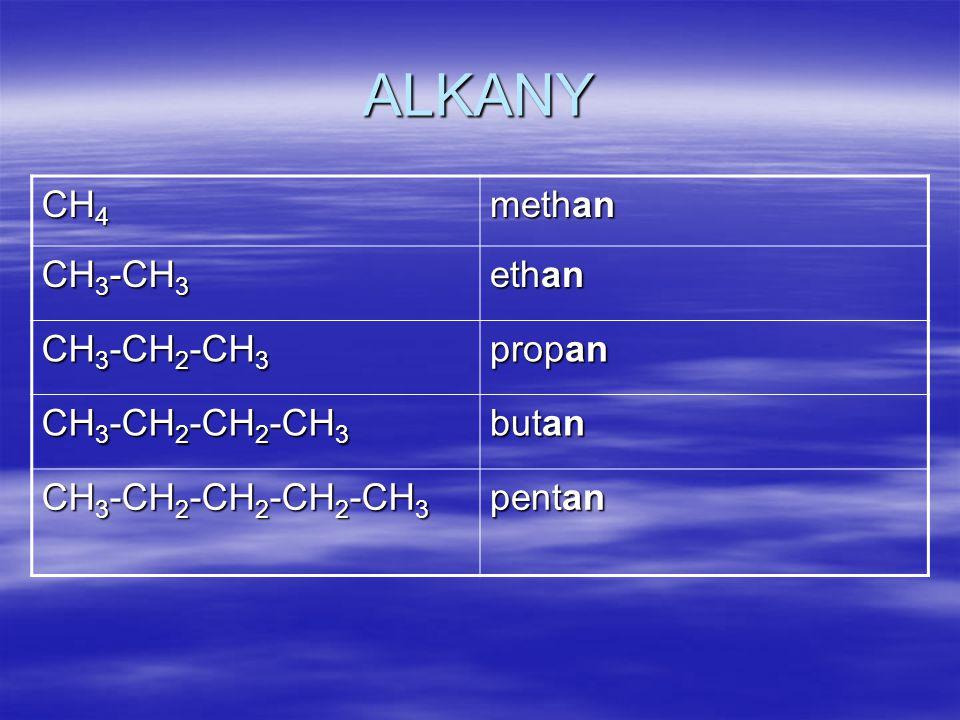 Uhlovodíkové zbytky - alkyly CH 3 - methyl CH 3 -CH 2 - ethyl CH 3 -CH 2 -CH 2 - propyl CH 3 -CH 2 -CH 2 -CH 2 - butyl CH 3 -CH 2 -CH 2 -CH 2 -CH 2 - pentyl