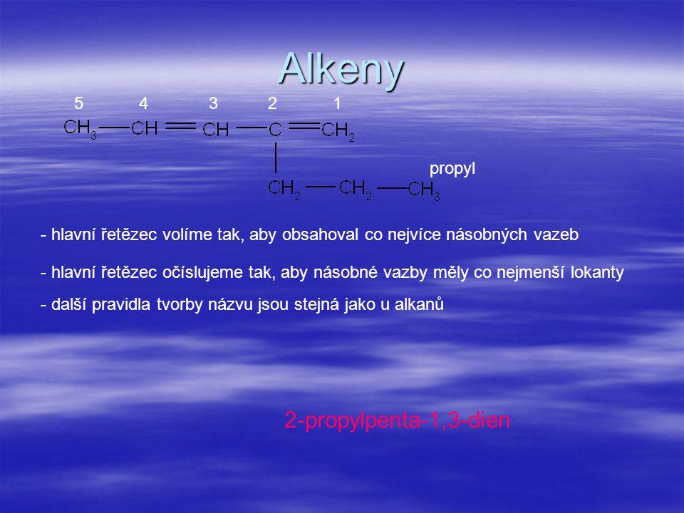 Alkeny propyl 2-propylpenta-1,3-dien - hlavní řetězec volíme tak, aby obsahoval co nejvíce násobných vazeb - hlavní řetězec očíslujeme tak, aby násobn