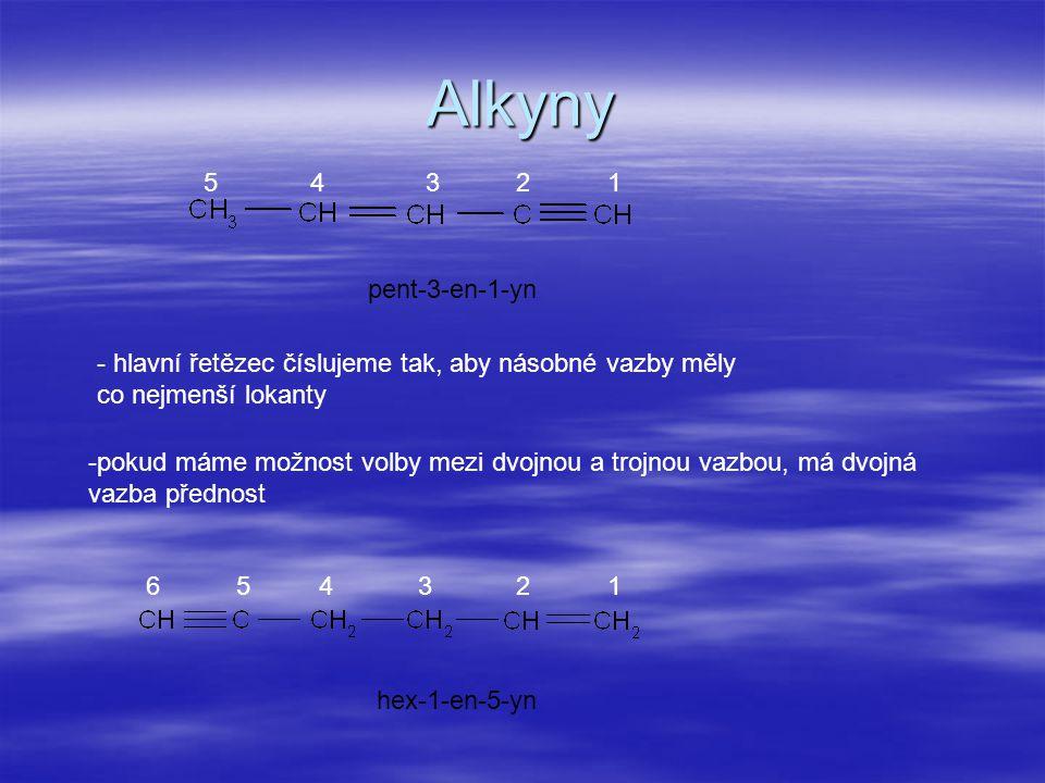 Alkyny - hlavní řetězec číslujeme tak, aby násobné vazby měly co nejmenší lokanty pent-3-en-1-yn hex-1-en-5-yn -pokud máme možnost volby mezi dvojnou