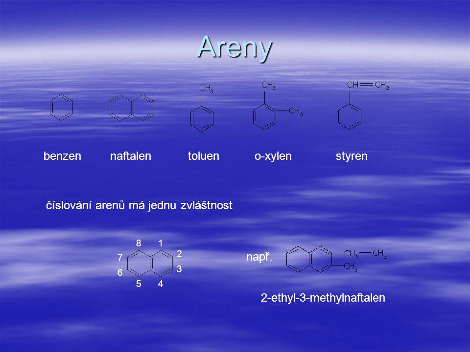 Areny benzennaftalentolueno-xylenstyren číslování arenů má jednu zvláštnost 1 2 3 45 6 7 8 např. 2-ethyl-3-methylnaftalen