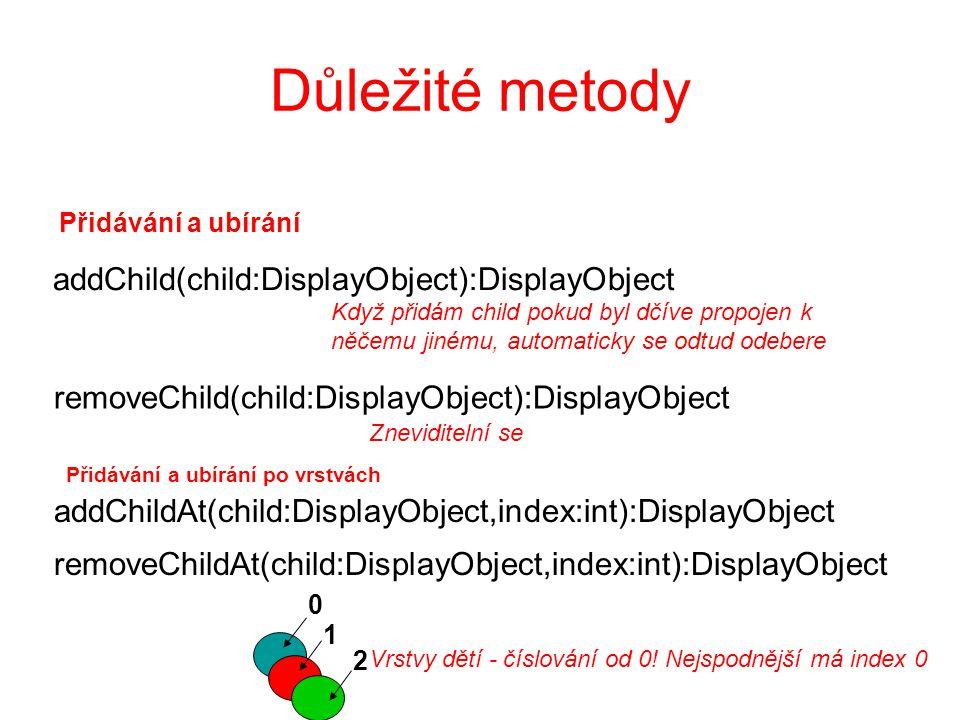 Důležité metody getChildAt(index:int):DisplayObject Číslování od 0.