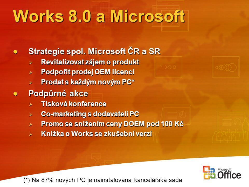 Works 8.0 a Microsoft Strategie spol. Microsoft ČR a SR Strategie spol. Microsoft ČR a SR  Revitalizovat zájem o produkt  Podpořit prodej OEM licenc