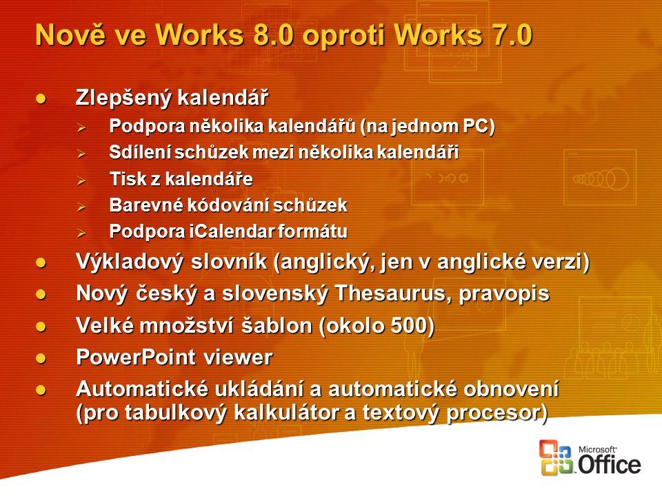 Nově ve Works 8.0 oproti Works 7.0 Zlepšený kalendář Zlepšený kalendář  Podpora několika kalendářů (na jednom PC)  Sdílení schůzek mezi několika kal