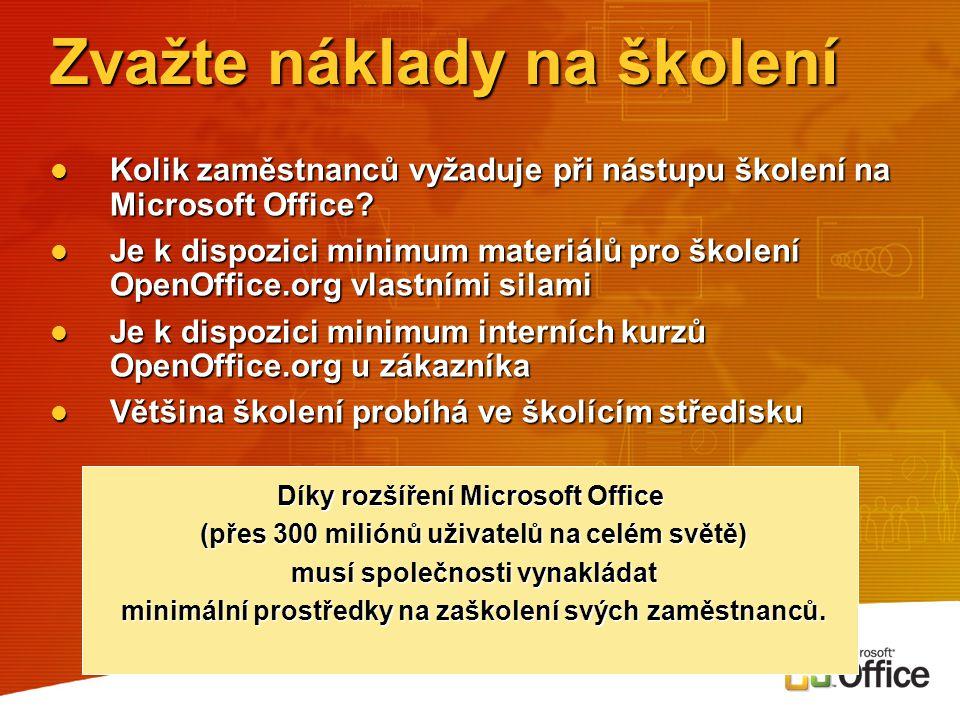 Zvažte náklady na školení Kolik zaměstnanců vyžaduje při nástupu školení na Microsoft Office? Kolik zaměstnanců vyžaduje při nástupu školení na Micros