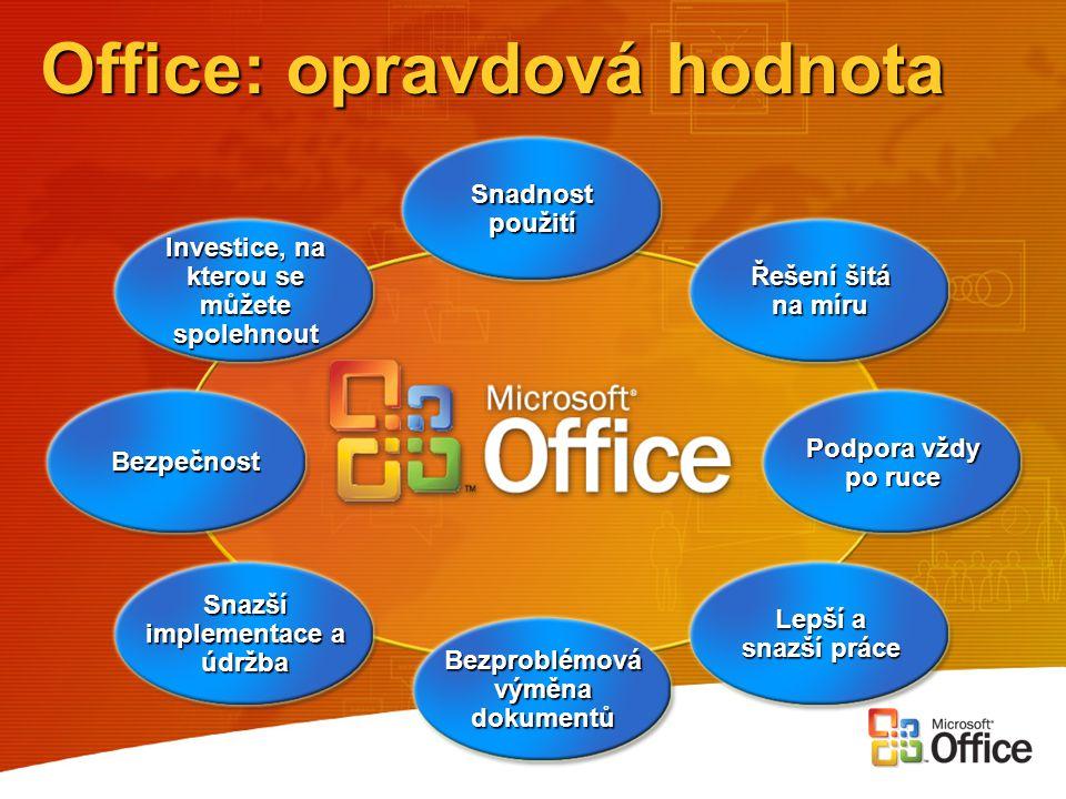 Office: opravdová hodnota Bezproblémová výměna dokumentů Snadnost použití Bezpečnost Lepší a snazší práce Podpora vždy po ruce Snazší implementace a ú