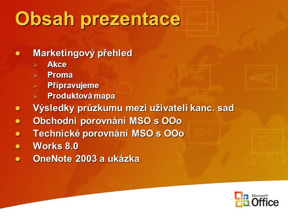 OOo neobsahuje Celou řadu aplikací (lze doplnit z OSS, chybí však integrace) Celou řadu aplikací (lze doplnit z OSS, chybí však integrace) Některé funkce (napříč všemi aplikacemi) Některé funkce (napříč všemi aplikacemi) Podporu pro Windows XP Tablet PC Podporu pro Windows XP Tablet PC Podokna úloh Podokna úloh Rozšířenou podporu XML Rozšířenou podporu XML Inteligentní značky, inteligentní dokumenty Inteligentní značky, inteligentní dokumenty Information Rights Management Information Rights Management Integraci s týmovými portály Integraci s týmovými portály Nástroje pro nasazení v síťovém prostředí Nástroje pro nasazení v síťovém prostředí Lokalizovanou a telefonickou technickou podporu Lokalizovanou a telefonickou technickou podporu