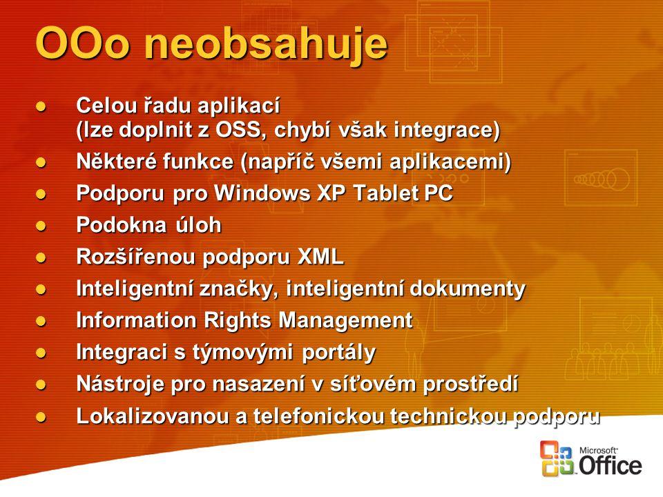 OOo neobsahuje Celou řadu aplikací (lze doplnit z OSS, chybí však integrace) Celou řadu aplikací (lze doplnit z OSS, chybí však integrace) Některé fun