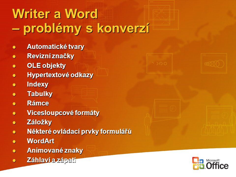 Writer a Word – problémy s konverzí Automatické tvary Automatické tvary Revizní značky Revizní značky OLE objekty OLE objekty Hypertextové odkazy Hype