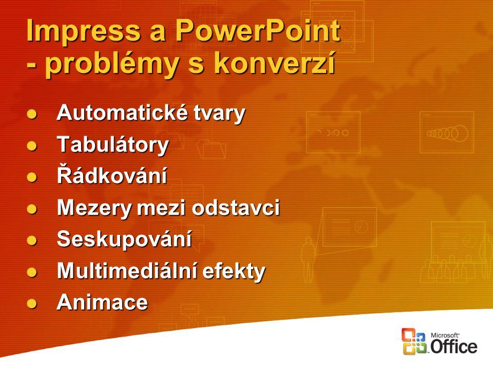 Impress a PowerPoint - problémy s konverzí Automatické tvary Automatické tvary Tabulátory Tabulátory Řádkování Řádkování Mezery mezi odstavci Mezery m