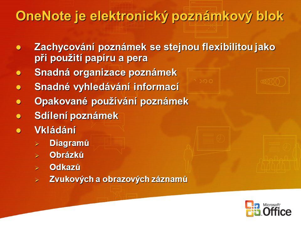 OneNote je elektronický poznámkový blok Zachycování poznámek se stejnou flexibilitou jako při použití papíru a pera Zachycování poznámek se stejnou fl