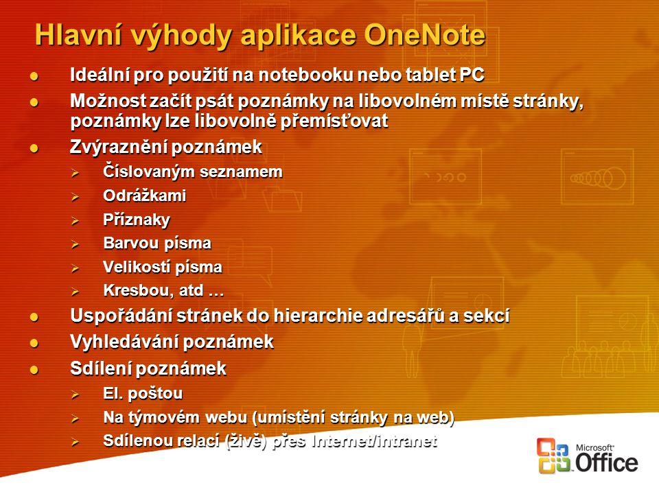 Hlavní výhody aplikace OneNote Ideální pro použití na notebooku nebo tablet PC Ideální pro použití na notebooku nebo tablet PC Možnost začít psát pozn