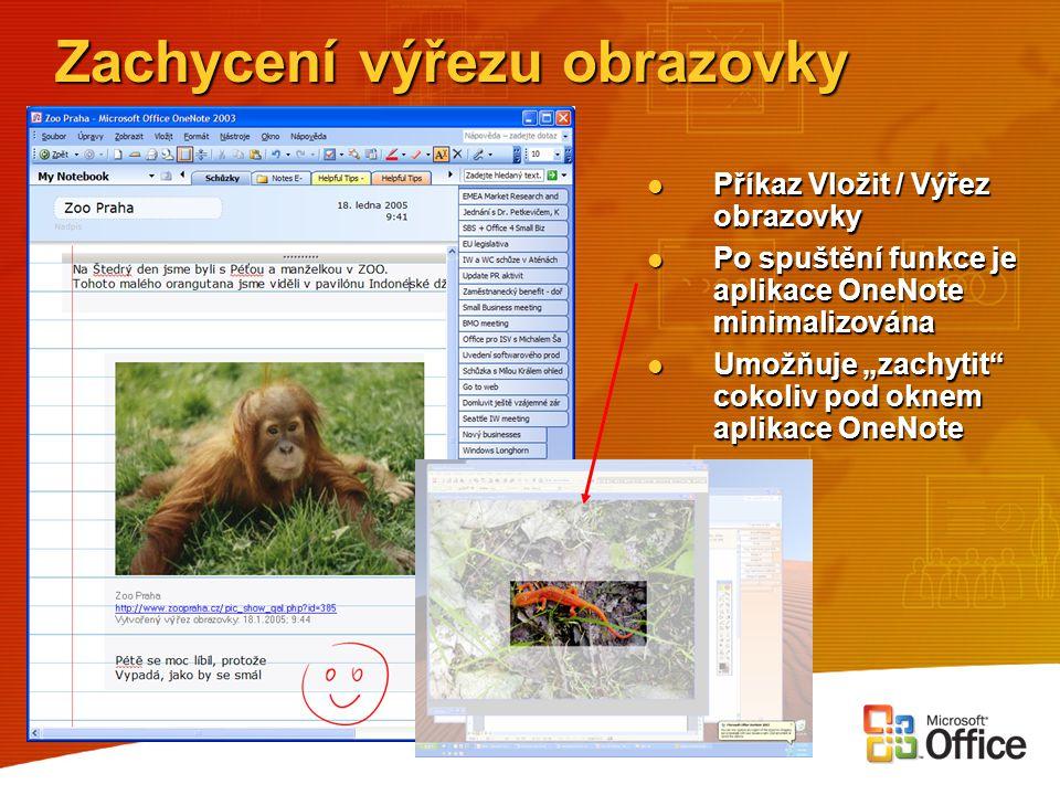 Zachycení výřezu obrazovky Příkaz Vložit / Výřez obrazovky Příkaz Vložit / Výřez obrazovky Po spuštění funkce je aplikace OneNote minimalizována Po sp