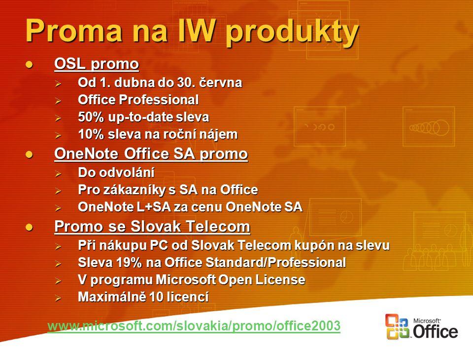 Proma na IW produkty OSL promo OSL promo  Od 1. dubna do 30. června  Office Professional  50% up-to-date sleva  10% sleva na roční nájem OneNote O