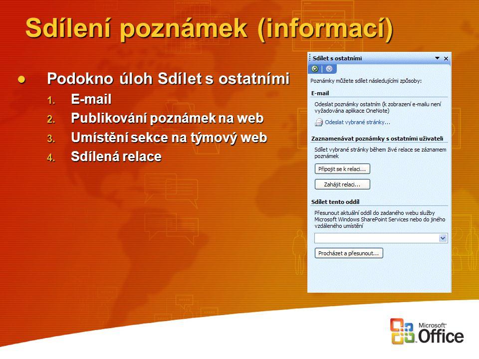 Sdílení poznámek (informací) Podokno úloh Sdílet s ostatními Podokno úloh Sdílet s ostatními 1. E-mail 2. Publikování poznámek na web 3. Umístění sekc