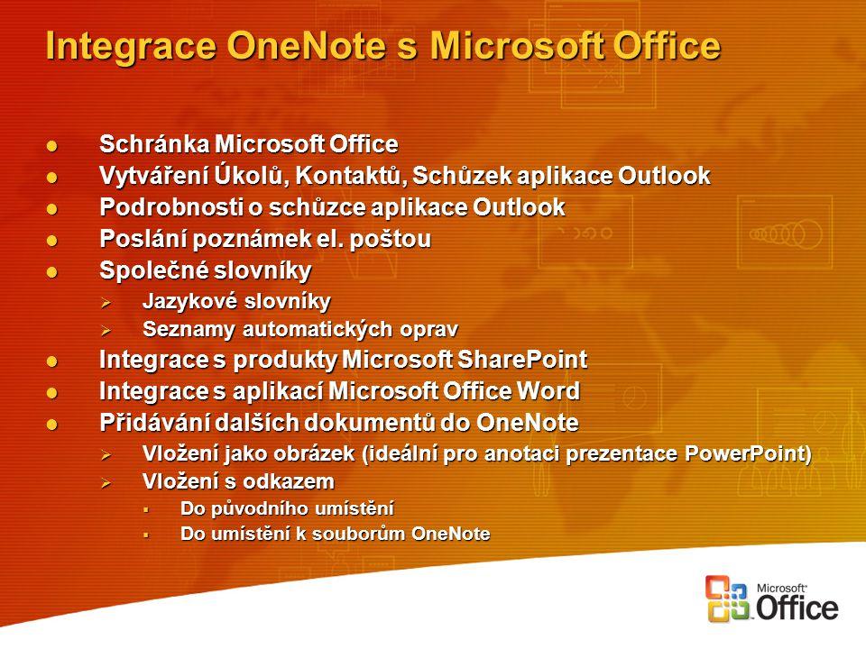 Integrace OneNote s Microsoft Office Schránka Microsoft Office Schránka Microsoft Office Vytváření Úkolů, Kontaktů, Schůzek aplikace Outlook Vytváření