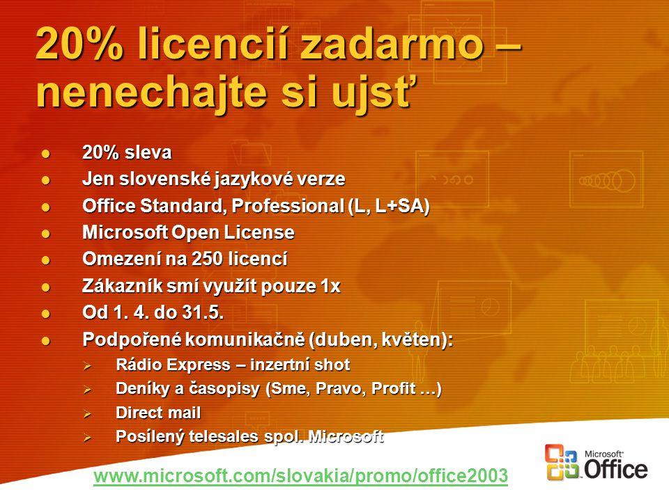 20% licencií zadarmo – nenechajte si ujsť 20% sleva 20% sleva Jen slovenské jazykové verze Jen slovenské jazykové verze Office Standard, Professional