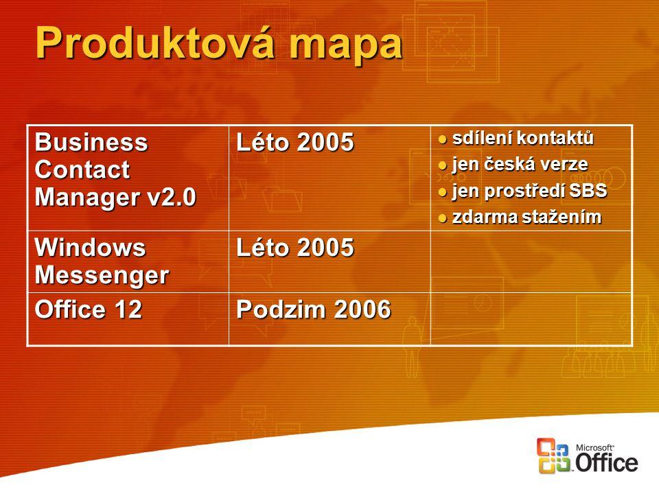 Produktová mapa Business Contact Manager v2.0 Léto 2005 sdílení kontaktů sdílení kontaktů jen česká verze jen česká verze jen prostředí SBS jen prostř
