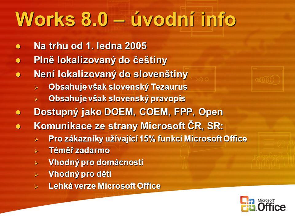Works 8.0 – úvodní info Na trhu od 1. ledna 2005 Na trhu od 1. ledna 2005 Plně lokalizovaný do češtiny Plně lokalizovaný do češtiny Není lokalizovaný