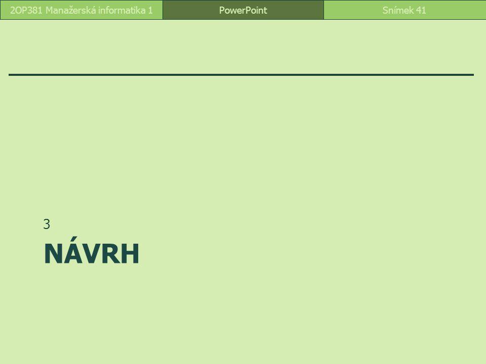 NÁVRH 3 PowerPointSnímek 412OP381 Manažerská informatika 1
