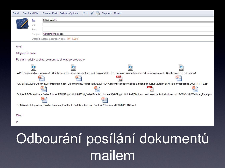 Odbourání posílání dokumentů mailem