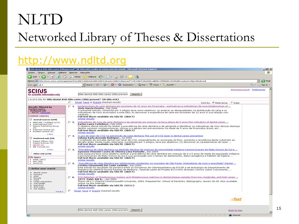 15 NLTD Networked Library of Theses & Dissertations