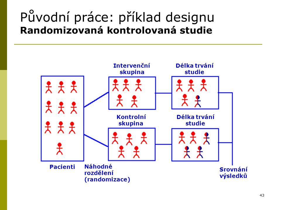 43 Původní práce: příklad designu Randomizovaná kontrolovaná studie Intervenční skupina Délka trvání studie Kontrolní skupina Délka trvání studie Pacienti Náhodné rozdělení (randomizace) Srovnání výsledků