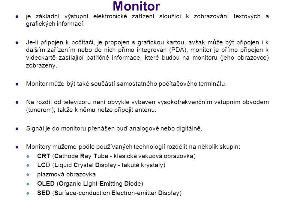 Základní parametry monitorů Úhlopříčka - Velikost monitoru se obvykle udává jako vzdálenost mezi protilehlými rohy obrazovky.