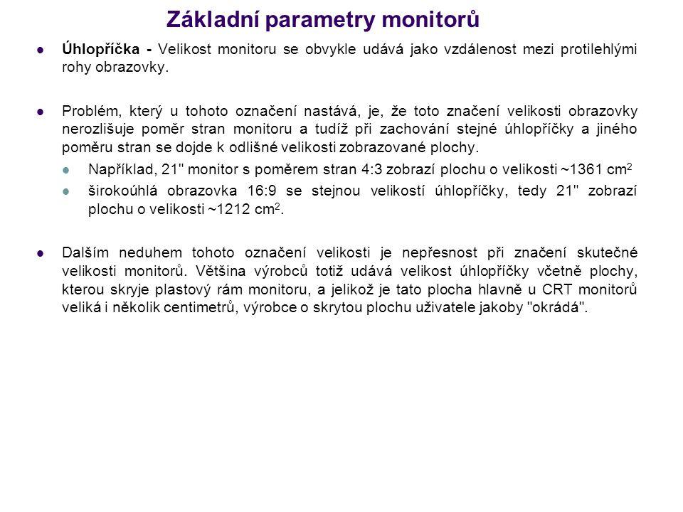 Základní parametry monitorů Úhlopříčka - Velikost monitoru se obvykle udává jako vzdálenost mezi protilehlými rohy obrazovky. Problém, který u tohoto