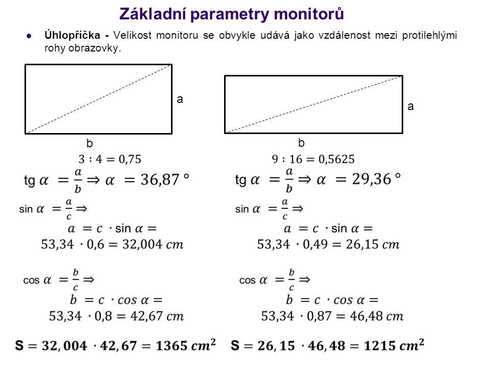 Základní parametry monitorů Úhlopříčka - Velikost monitoru se obvykle udává jako vzdálenost mezi protilehlými rohy obrazovky. a b a b
