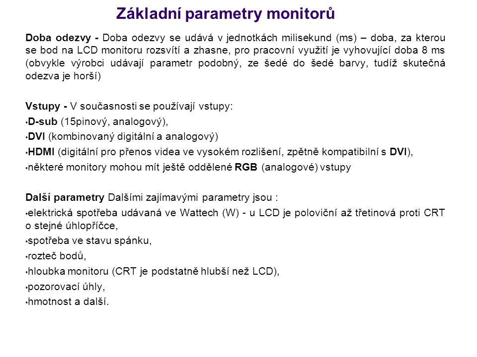 Základní parametry monitorů Doba odezvy - Doba odezvy se udává v jednotkách milisekund (ms) – doba, za kterou se bod na LCD monitoru rozsvítí a zhasne
