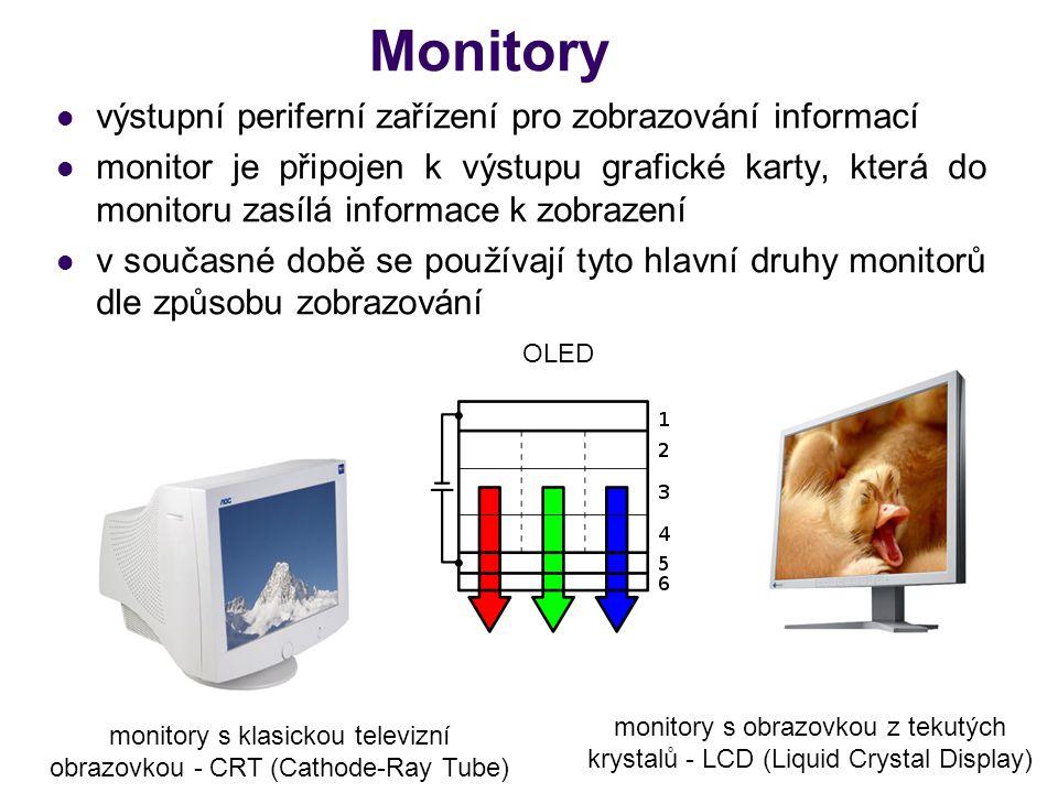 Monitory výstupní periferní zařízení pro zobrazování informací monitor je připojen k výstupu grafické karty, která do monitoru zasílá informace k zobr