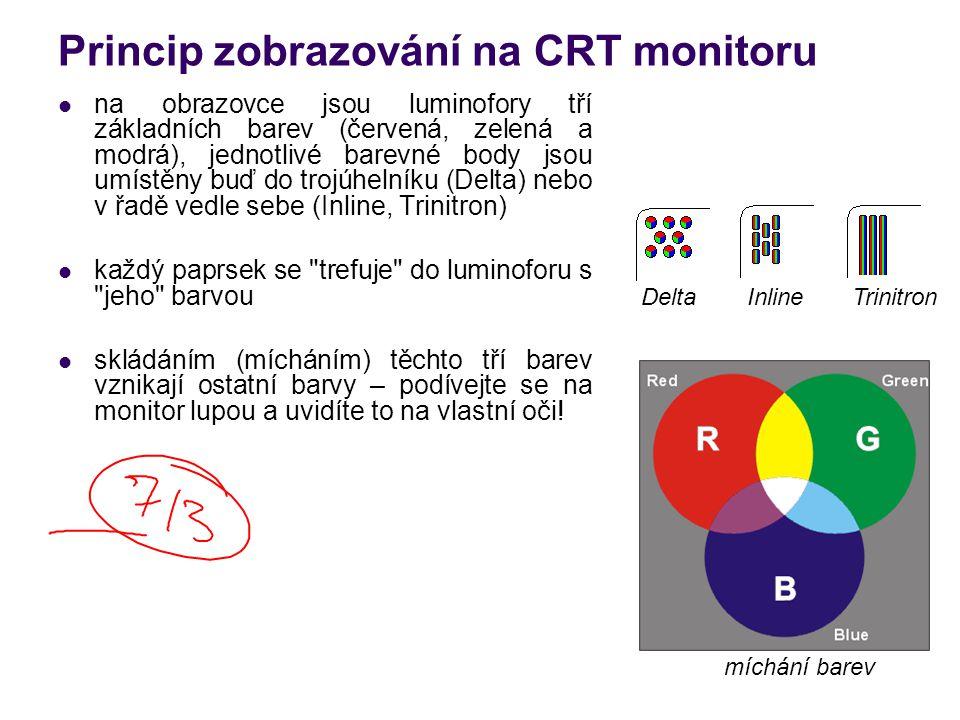 Vlastnosti CRT monitorů flat screen – plochá obrazovka funkce Green – po určité době nečinnosti se monitor přepne do pohotovostního režimu (příkon se z 125 W sníží na 8 – 15 W) LR (Low Radiation), TCO – normy zaručující snížené vyzařování škodlivého záření