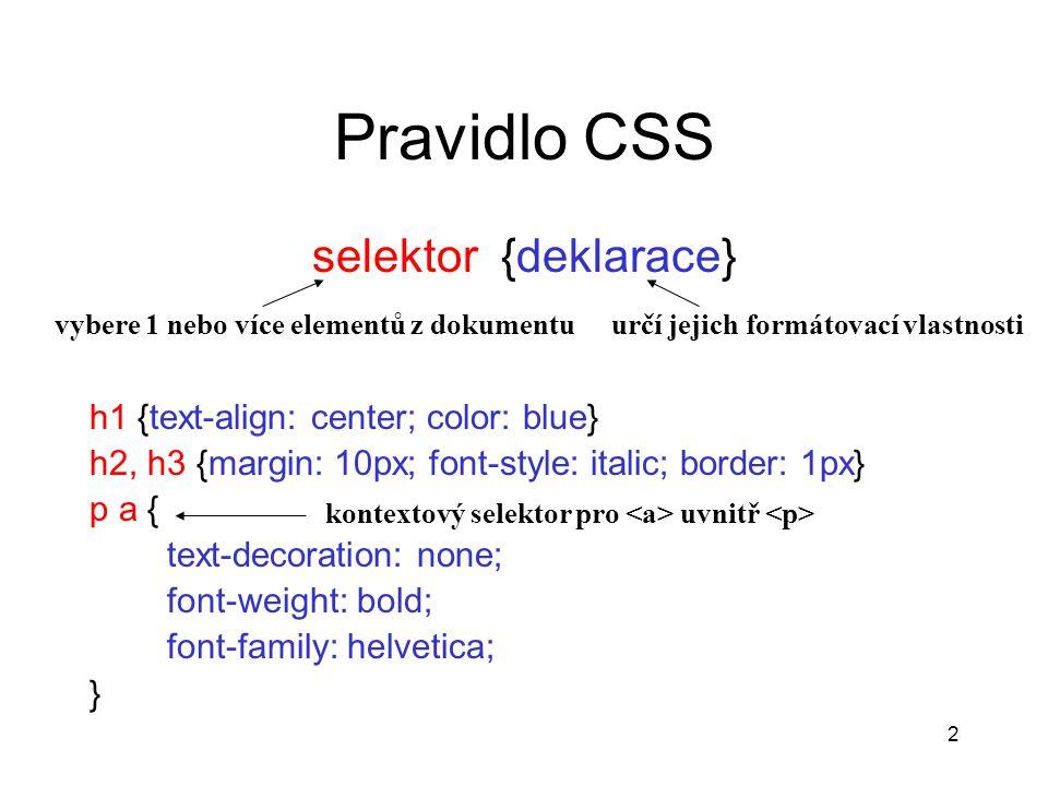 2 Pravidlo CSS selektor {deklarace} h1 {text-align: center; color: blue} h2, h3 {margin: 10px; font-style: italic; border: 1px} p a { text-decoration: