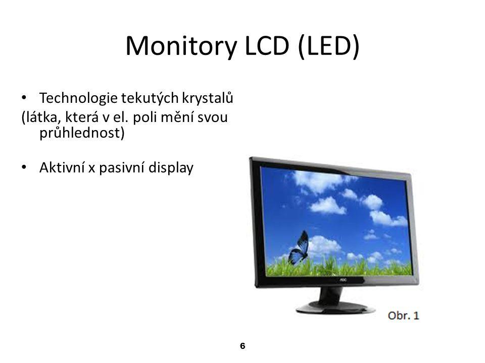6 Monitory LCD (LED) Technologie tekutých krystalů (látka, která v el.