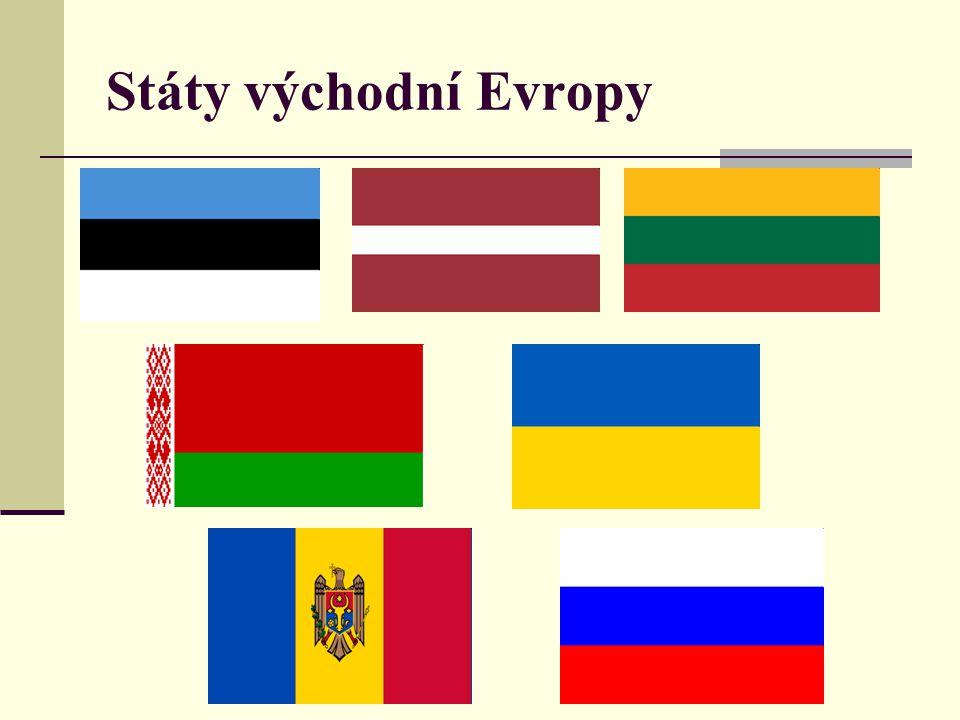 Pobaltské státy: Estonsko – Tallinn – přístav, historické jádro Lotyšsko – Riga, nejprůmyslovější z Východní E.