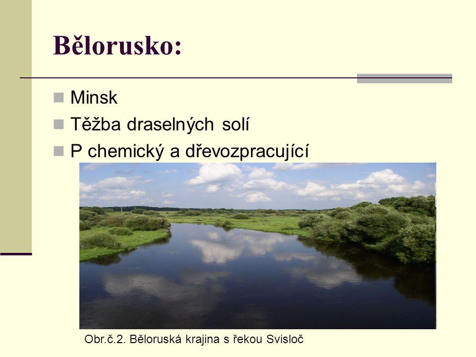 Bělorusko: Minsk Těžba draselných solí P chemický a dřevozpracující Obr.č.2. Běloruská krajina s řekou Svisloč