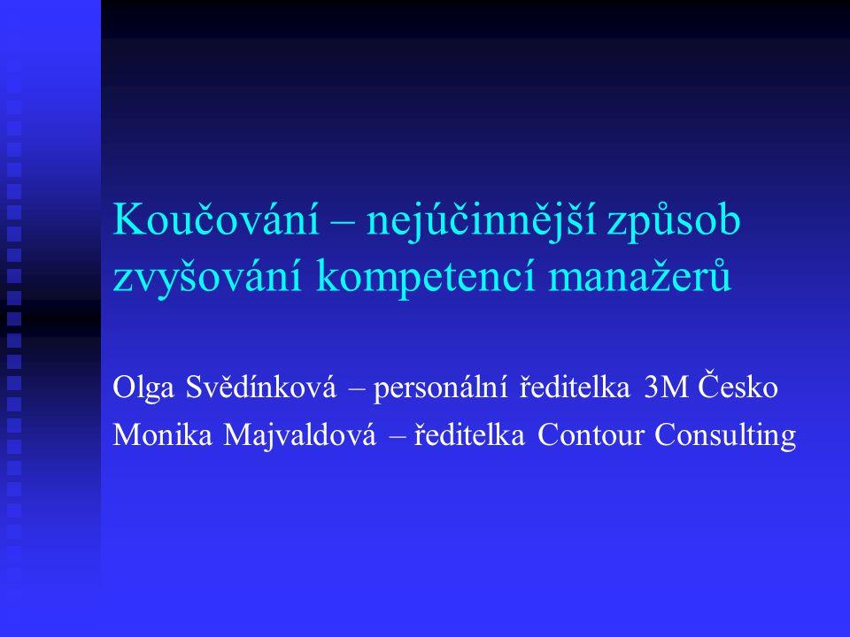Koučování – nejúčinnější způsob zvyšování kompetencí manažerů Olga Svědínková – personální ředitelka 3M Česko Monika Majvaldová – ředitelka Contour Co