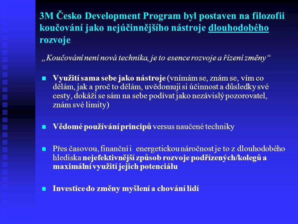 3M Česko Development Program byl postaven na filozofii koučování jako nejúčinnějšího nástroje dlouhodobého rozvoje Využití sama sebe jako nástroje (vn