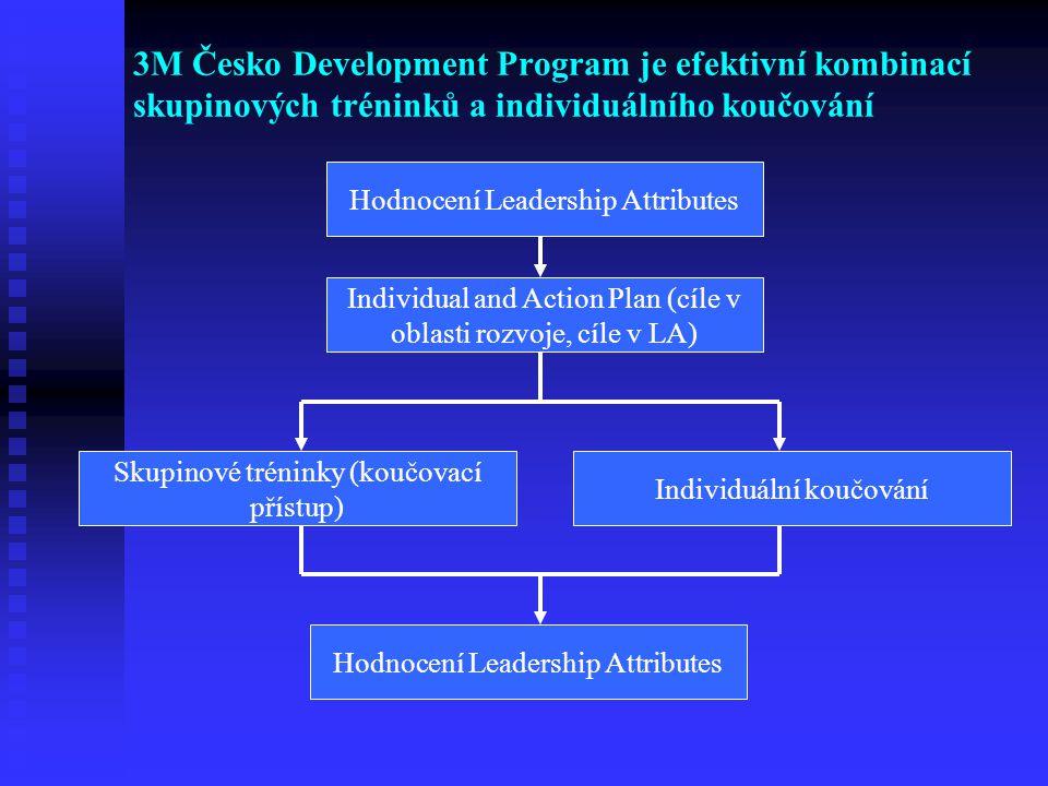 3M Česko Development Program je efektivní kombinací skupinových tréninků a individuálního koučování Hodnocení Leadership Attributes Individual and Act
