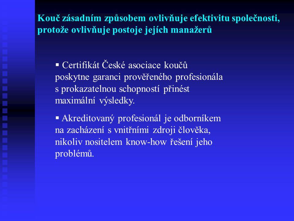 Kouč zásadním způsobem ovlivňuje efektivitu společnosti, protože ovlivňuje postoje jejích manažerů  Certifikát České asociace koučů poskytne garanci