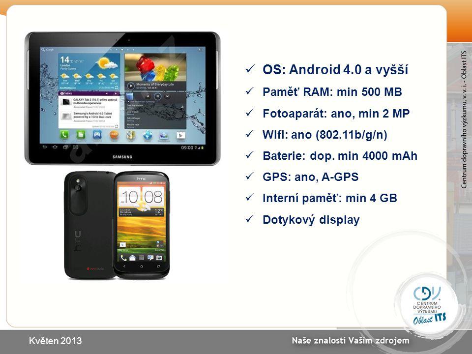 OS: Android 4.0 a vyšší Paměť RAM: min 500 MB Fotoaparát: ano, min 2 MP Wifi: ano (802.11b/g/n) Baterie: dop. min 4000 mAh GPS: ano, A-GPS Interní pam