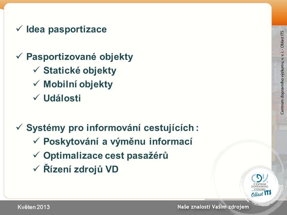 Idea pasportizace Pasportizované objekty Statické objekty Mobilní objekty Události Systémy pro informování cestujících : Poskytování a výměnu informac