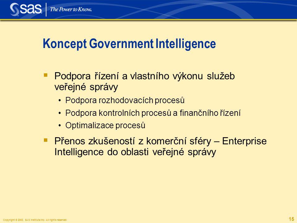 Copyright © 2003, SAS Institute Inc. All rights reserved. 15 Koncept Government Intelligence  Podpora řízení a vlastního výkonu služeb veřejné správy