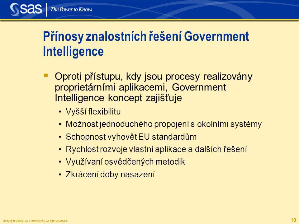 Copyright © 2003, SAS Institute Inc. All rights reserved. 18 Přínosy znalostních řešení Government Intelligence  Oproti přístupu, kdy jsou procesy re