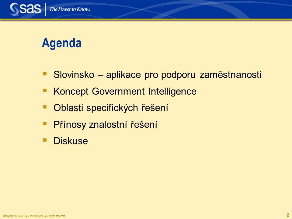 Copyright © 2003, SAS Institute Inc. All rights reserved. 2 Agenda  Slovinsko – aplikace pro podporu zaměstnanosti  Koncept Government Intelligence