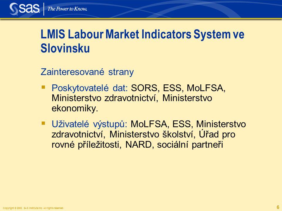 Copyright © 2003, SAS Institute Inc. All rights reserved. 6 LMIS Labour Market Indicators System ve Slovinsku Zainteresované strany  Poskytovatelé da