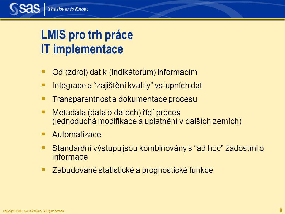 Copyright © 2003, SAS Institute Inc. All rights reserved. 8 LMIS pro trh práce IT implementace  Od (zdroj) dat k (indikátorům) informacím  Integrace